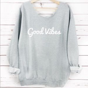 Sweaters - NEW Good Vibes Slouchy Sweater, Womens Top